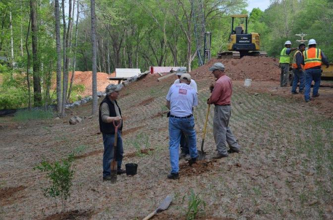 Volunteers Planting at Site of the New Bridge Over Elkin Creek